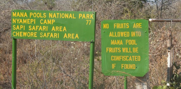 Sign post at entrance to Mana Pools